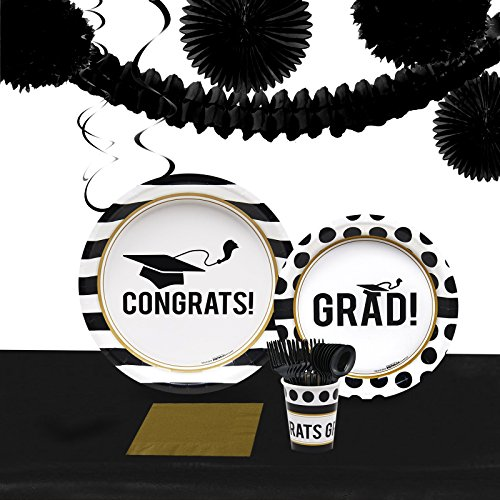 BirthdayExpress Graduation Party Supplies - Party Pack for 40 (Graduation Party Tableware)