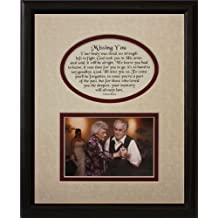 8x10 MISSING YOU Picture & Poetry Photo Gift Frame ~ Cream/Burgundy Mat with BLACK Frame * Memorial * Bereavement * Sympathy * Condolence Picture and Poetry Keepsake Gift Frame by PoetrybyJoyceBoyce.com