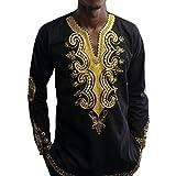 ChrisMonroeSTL Men's Shirts African Dashiki Clothing Men Traditional Ethnic African Style Long Sleeve Black & Gold