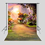 FUERMOR 5x7ft Background Fairy Tale Mushroom Hut Photography Backdrop Children Studio Photo Props A033