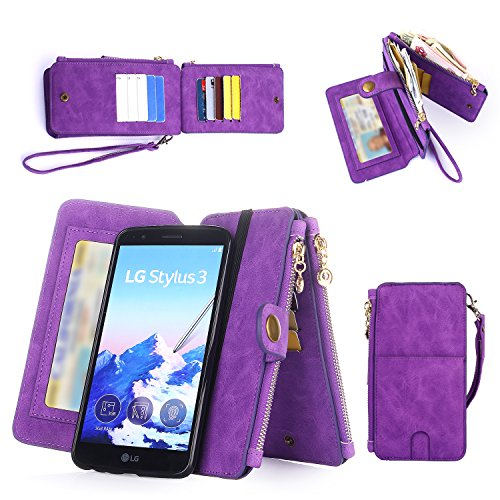 LG Stylo 3, LG Stylo 3 Plus Case Wallet Case, Improved 12 Card Holder, Dual Zipper Cash Change Slot, PU Leather Cover with Detachable Magnetic Case - Purple