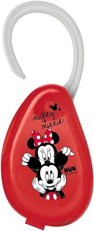 NUK 10256415 Disney Mickey - Caja para chupete con colgador, para guardar los chupetes, ideal para viajes, 1 unidad, color rojo: Amazon.es: Bebé