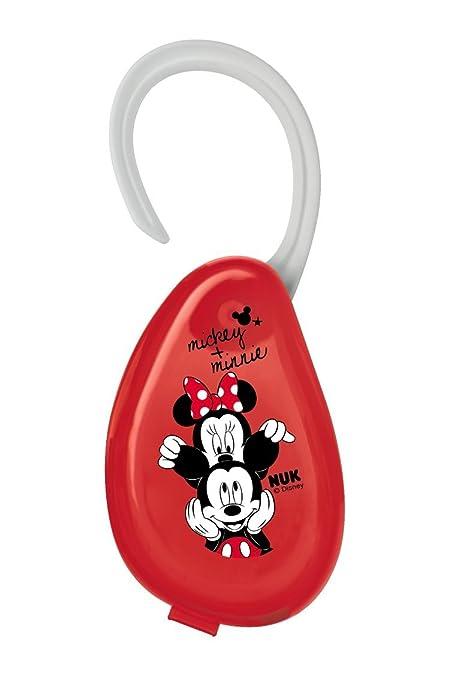 NUK 10256415 Disney Mickey Chupete Caja, con suspensión, para el Práctico almacenar chupetes, ideal para viajes, 1 unidades), color rojo
