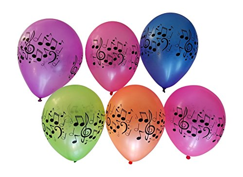 Music Balloons with Notes for Band, Choir, or Music Birthday Party - 25 Assorted Neon Colors - 11 Latex Balloons by 3Cats Party Supplies