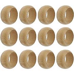 SKAVIJ Wooden Napkin Rings Set of 12 Handmade for Wedding Party Holiday Dinner Natural Wood