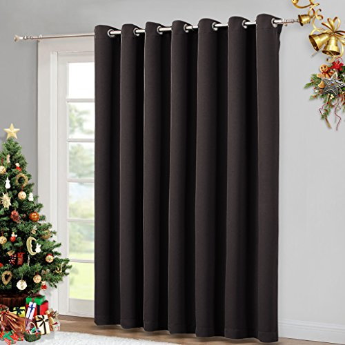 Brown Glass Door Blackout Curtain - Sliding Glass Door Blinds, Patio door Blackout,Vertical Blinds Thermal Drapes for Window by NICETOWN (Toffee Brown, 100