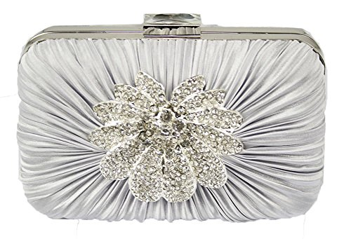 Sparkly With Ladies Brooch Chain Box Handbag Women Party For Rouched Silver Clutch Diamante Bag Design 1 Designer Evening rcqfHrFW