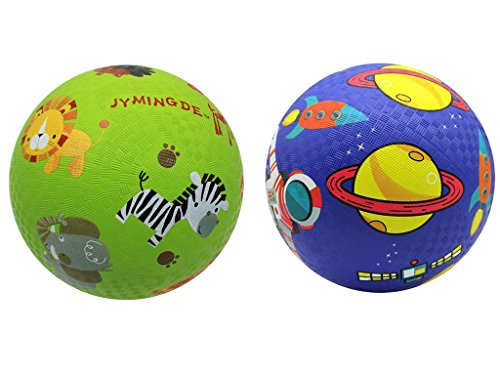 Mingde Kids Play Balls Set of 2 Playground Balls(8.5 inch) Children Practice clap Ball Rubber for Traning Safety Non-Toxic by Mingde