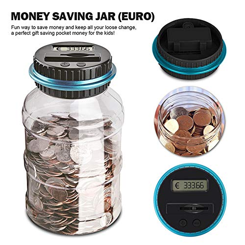 (1.8L Bank Counter Coin Electronic Digital LCD Counting Coin Money Saving Box Jar Coins Storage Box (For EURO Money))