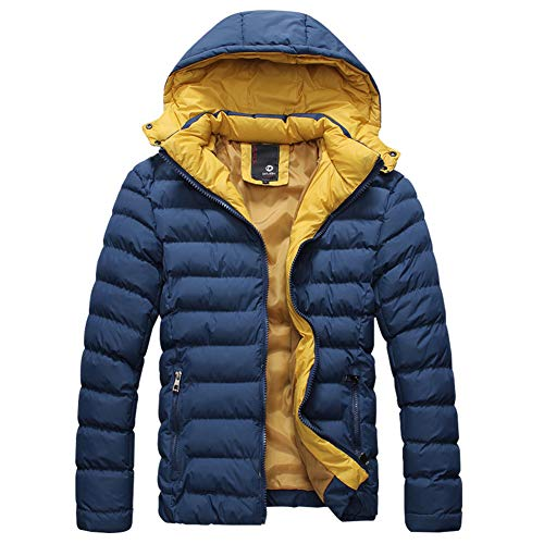 Men's Down Casual Padded Dablue Puffer Size Color Detachable Winter Coat Warm Solid Jacket Plus Outerwear Hooded Tqw0drqR