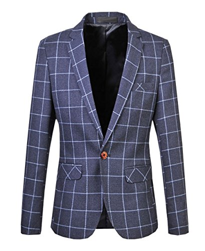 ANFF Men's Grid Suit Jacket Blazer Leisure Big and Tall Plus Size Formal - Wills Blazer Mens Jack