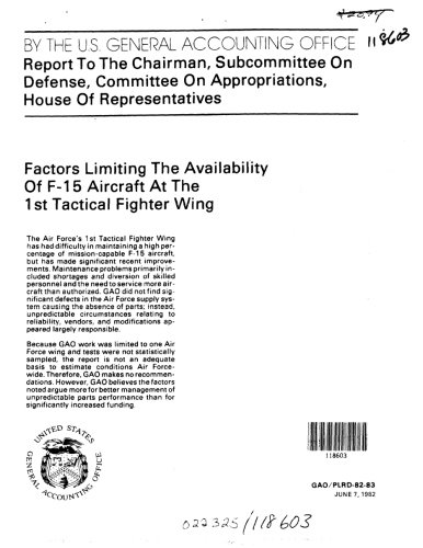 Factors Limiting the Availability of F-15 Aircraft at the 1st Tactical Fighter - Fighter Wing Tactical