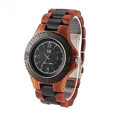 TJW Mens Natural Wooden Watch Analog Quartz Handmade Casual Wrist Watch sports style watch 8030