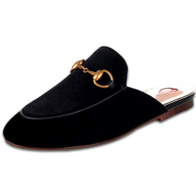2b9d1b5bd4f4 GEEDIAR Leather Mules Women Shoes Mules Flats Shoes and Slides Backless  Loafer Slip-on Slippers