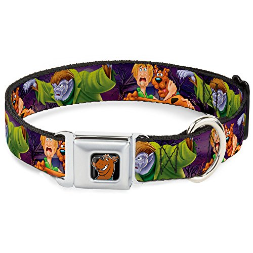 Buckle-Down Seatbelt Buckle Dog Collar - Scooby & Shaggy Hugging w/Werewolf Man Purple - 1.5