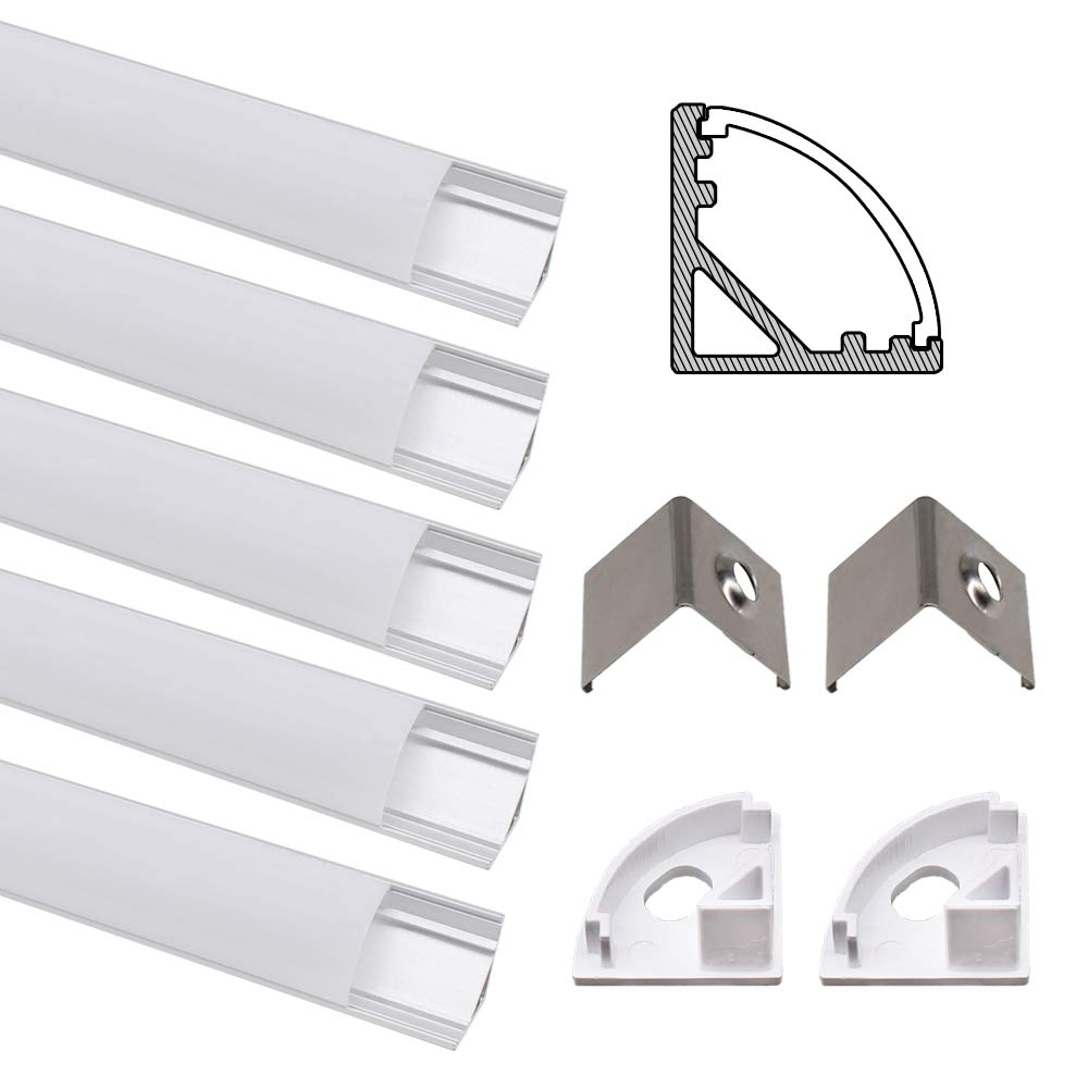 Jirvyuk Aluminum Profile, 5 Pack 1m/3.3ft U-Shape LED Aluminum Channel for LED Strip Lights with Milky White Cover, End Caps and Metal Mounting Clips - Silver
