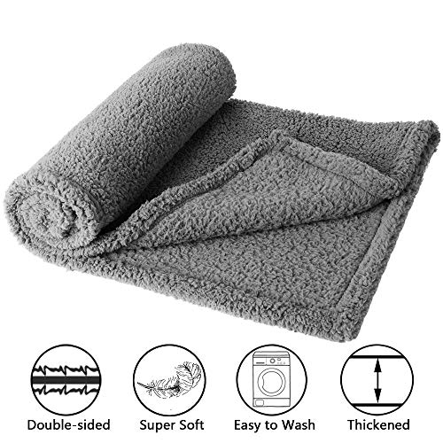 Fleece Blanket Berber (H&ZT Pet Fluffy Fleece Throw Blanket Double-Sided Soft Pet Premium Throw Dogs & Cats,Medium (40
