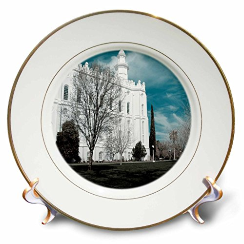 3dRose cp_47501_1 The St. George, Utah Lds Temple for The Church of Jesus Christ of Latter Day Saints in Cool Tones-Porcelain Plate, 8-Inch Jesus Collector Plate