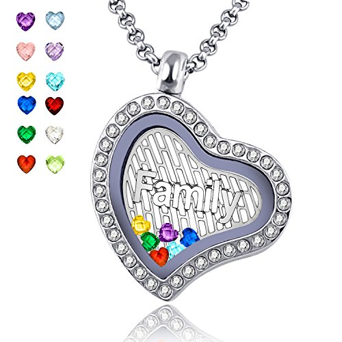 YOUFENG Love Heart Floating Living Memory Locket Family Pendant Necklace Birthstones Charms Include Women Jewelry (Heart family locket) July Birthstone Heart Charm