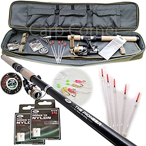 2 x NGT PIONEER 10FT TELESCOPIC FISHING RODS WITH CORK HANDLE TRAVEL FISHING ROD