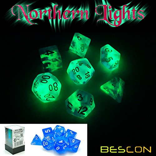 Bescon Super Glow in The Dark Nebula Glitter Polyhedral Dice Set Northern Light, Luminous RPG Dice Set,Glowing Novelty DND Game Dice Set, Novelty DND Game Dice d4 d6 d8 d10 d12 d20 d% in Brick Box