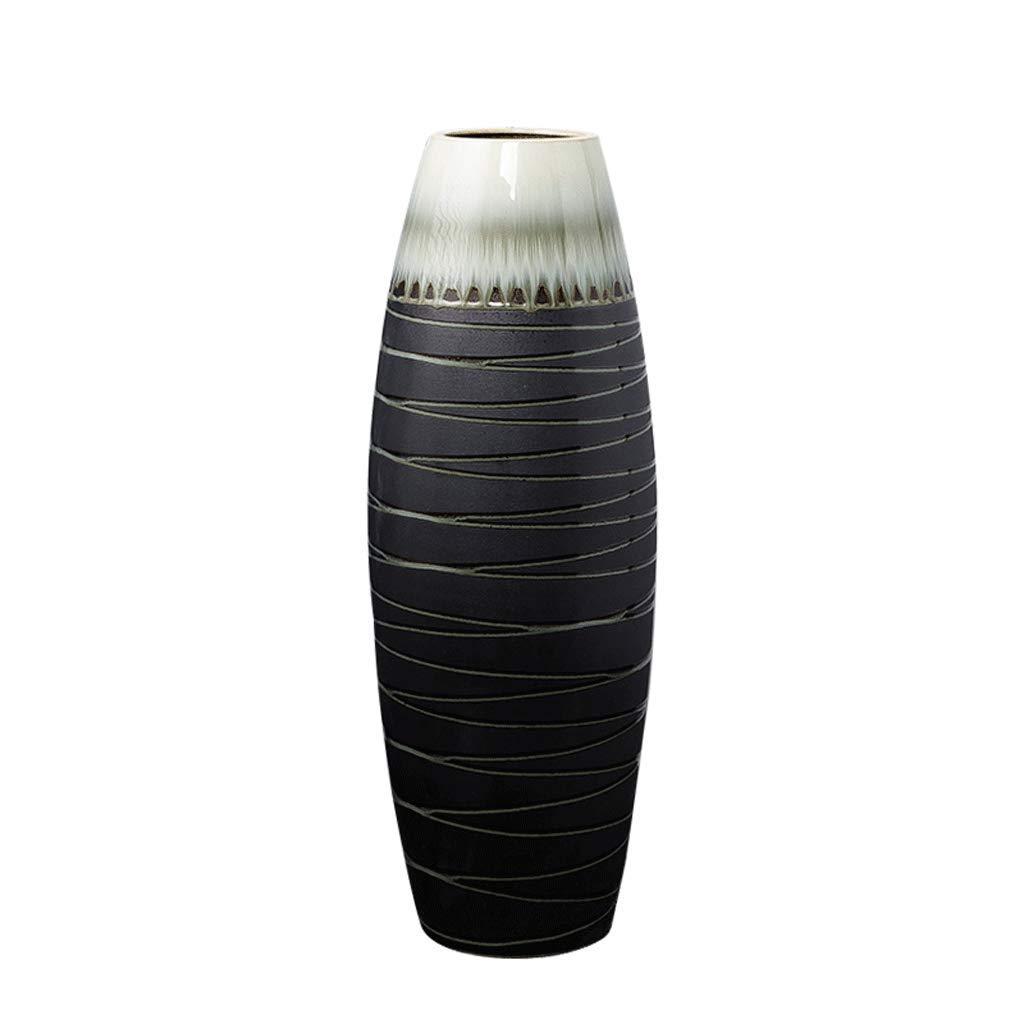シンプルな家の床の花瓶ポーチ廊下セラミック装飾花瓶装飾ブティック LCSHAN (Color : Ceramic-Black, Size : 60cm*13cm*13cm) B07T1G6ZXB Ceramic-Black 60cm*13cm*13cm
