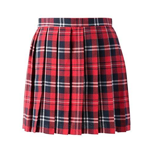 Women School Uniforms plaid Pleated Mini Skirt, Waist(68.5cm/27inch) M, Bright - Plaid Skort Pleated