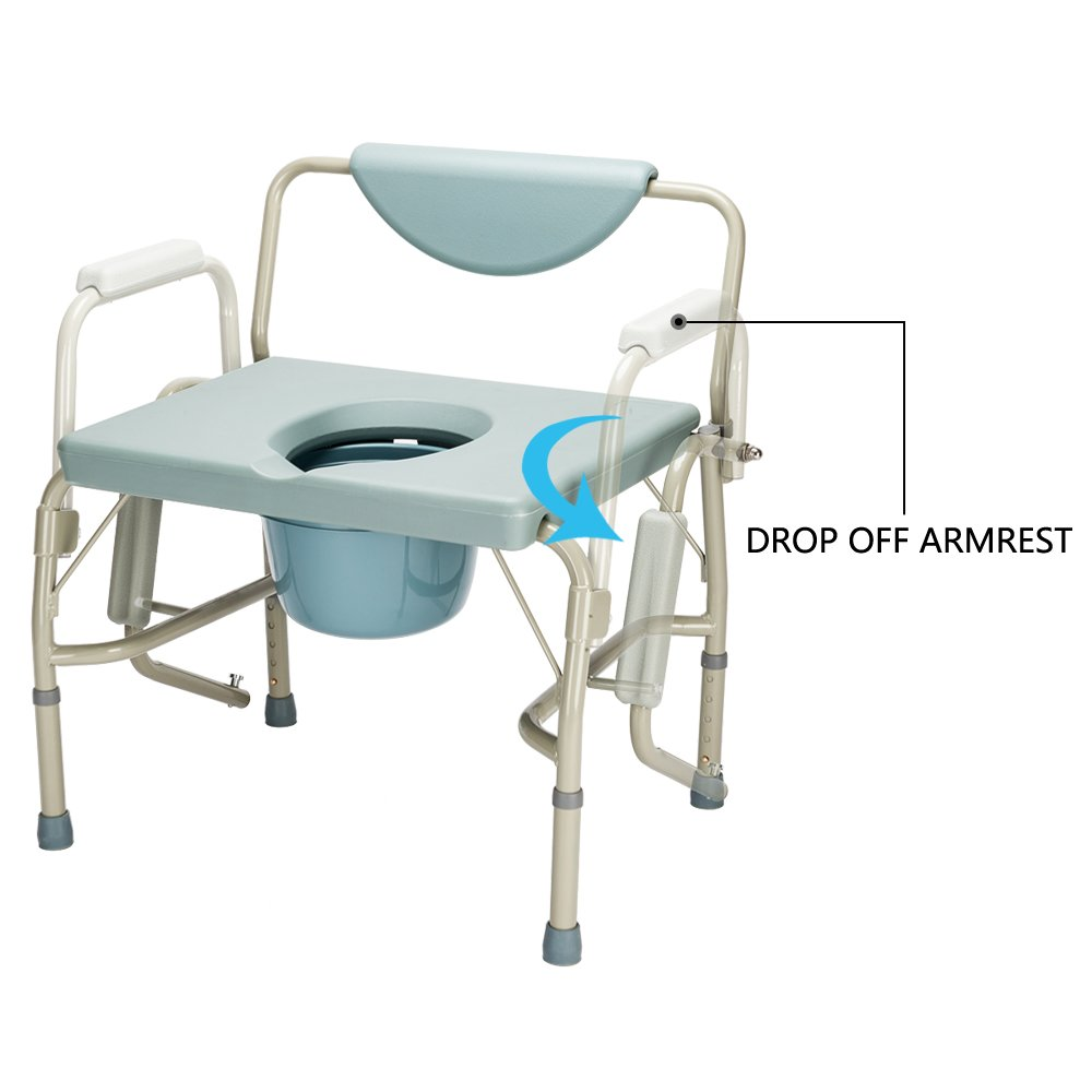 Mefeir FDA Approved 550 lbs Heavy Duty Drop Arm Medical Bedside Commode Chair, Homecare Toilet Seat with Safety Steel Frame, 6 Quart Capacity Pail, Adjustable Height Support Tool-Free Assembly