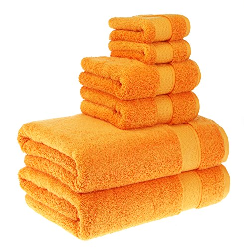 Stripe Wash Towel (PROMIC Luxury Towel Set, 100% Egyptian Cotton - 2 Extra Large Bath Towels 30x60, 2 Hand Towels, 2 Washcloths - Soft, Plush and Highly Absorbent (Set of 6, Orange))
