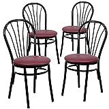 Flash Furniture 4 Pk. HERCULES Series Fan Back Metal Chair – Burgundy Vinyl Seat Review