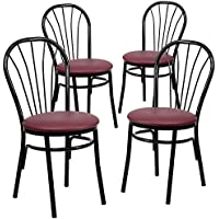 Flash Furniture 4 Pk. HERCULES Series Fan Back Metal Chair - Burgundy Vinyl Seat