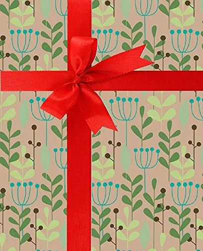 Leaves & Berries Kraft Gift Wrap Roll 24