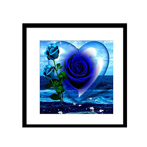 Partial Diamond DIY Abstract Blue Rose and Heart Shape Diamond Painting Christmas Angel Diamond Cross Stitch Crystal Square Diamond Sets Unfinish Decorative Diamond Embroidery Kit 11.8inch x 11.8inch
