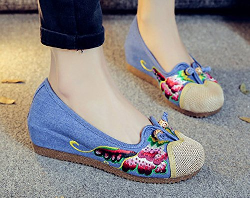AvaCostume Womens Chinese National Style Embroidered Elevator Shoes Wedges Blue o67PaSCc