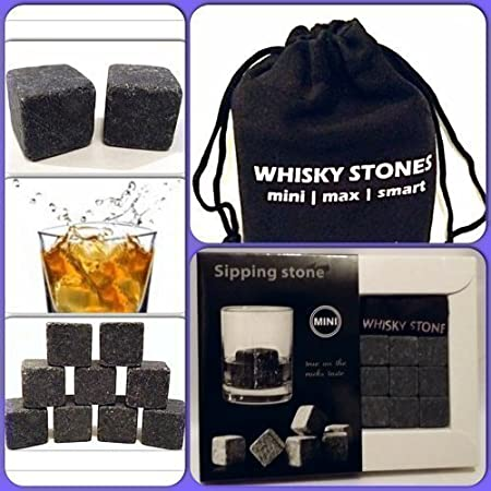 Available In 6 Different Colours Black 9 piece Whisky//Whiskey Sipping Stones Brand New Sealed In Box come complete with Pouch.