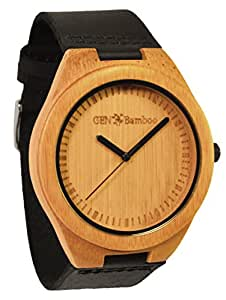 GEN Bamboo LeGENd Men's Wooden Bamboo Watch in Black with Genuine Leather Strap (Japanese Quartz)