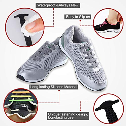 d73ff026428e1 Coolnice No Tie Shoelaces for Kids and Adults Men   Women Waterproof    Stretchy Silicone Flat Elastic Running Shoe Laces in Sport Fan Shoelaces  for Athletic ...