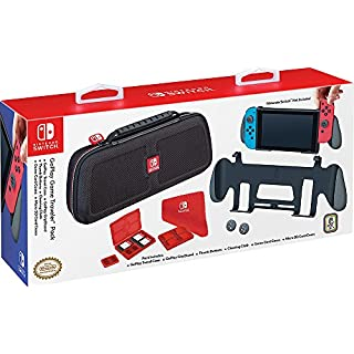 Officially Licensed Nintendo Switch GoPlay Game Traveler Accessory Pack – Comes with Case, Grip Stand, Cleansing Cloth and Multi–game cases