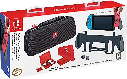 - Nintendo Switch GoPlay Game Traveler Accessory Pack, Comes with Case, Grip Stand, Cleansing Cloth and Multi-game cases
