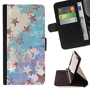 - star gold glitter clouds blue purple - - Prima caja de la PU billetera de cuero con ranuras para tarjetas, efectivo desmontable correa para l Funny HouseFOR HTC One M8