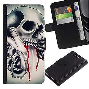 All Phone Most Case / Oferta Especial Cáscara Funda de cuero Monedero Cubierta de proteccion Caso / Wallet Case for Sony Xperia Z1 Compact D5503 // Vampire Tattoo Fang Blood Ink Biker