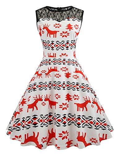 HUINI Vintage Kleid 50er 60er Retro Swing Rockabilly Kleid Spitzen Blumen  St.Patrick Kleid Sommerkleid d794fedf25