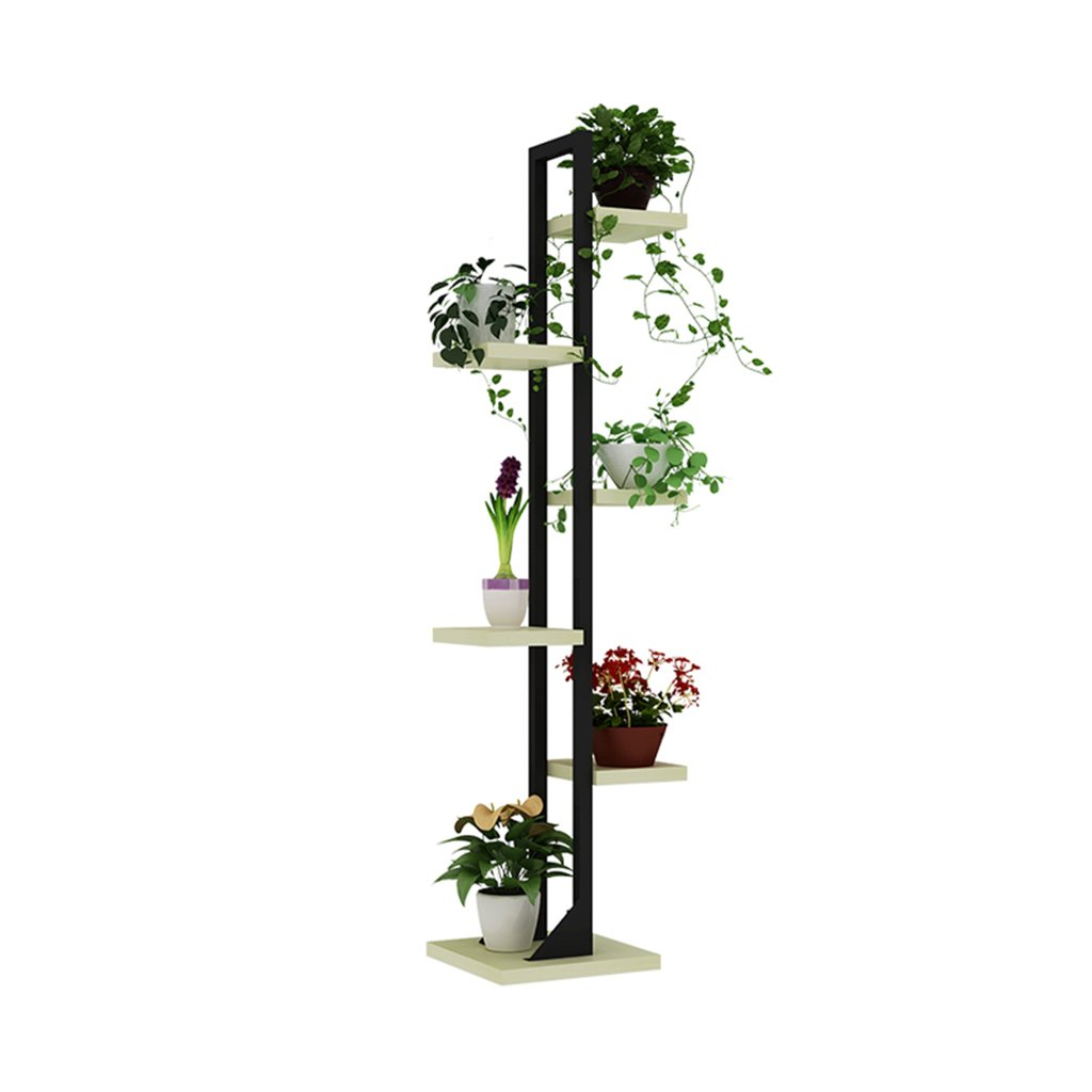 TYCGY wrought iron multi-storey flower racks, indoor landing solid wood balcony plant shelf, multi-function flowerpot stand 143cm H ( Color : D )