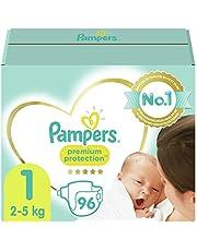 Pampers Maat 1 Luiers (2-5 kg), Premium Protection, 96 Stuks, Onze Nummer 1 Luier voor Zachtheid en Bescherming van de Gevoelige Huid