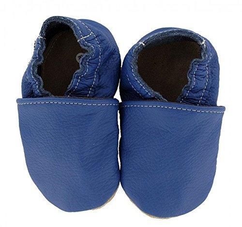 HOBEA-Germany Krabbelschuhe uni einfarbig - Pantuflas para bebés Azul (blau)