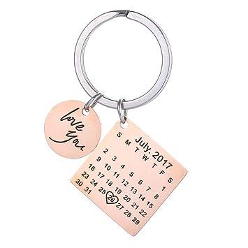 Llavero de acero inoxidable personalizable con calendario grabado con fecha y mensaje grabado