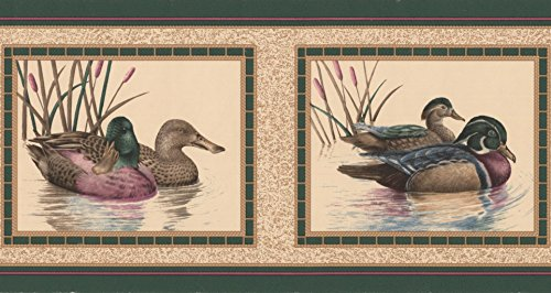 (Colorful Ducks Pictures on Beige Wall Bathroom Wallpaper Border Retro Design, Roll 15' x 7'')