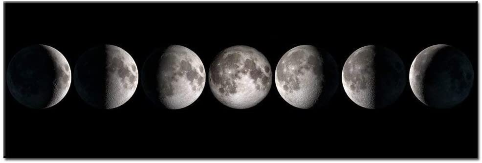 sechars - Modern Giclee Canvas Prints Stretched Artwork Phases of Moon Black and White Pictures to Photo Paintings on Canvas Wall Art for Home Office Decorations 20