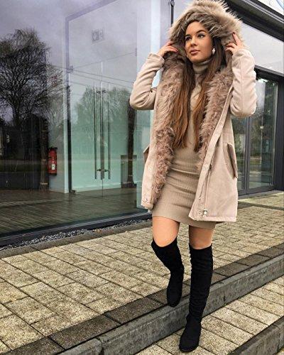 Ital-Design Overknees Damenschuhe Overknees Blockabsatz Blockabsatz Reißverschluss Stiefel Hellbraun