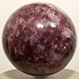 70mm Purple Lepidolite Sphere Sparkling Natural Crystal Lilac Ball Polished Litha Mica Mineral Flower Sugilite Stone - Africa + Plastic Stand